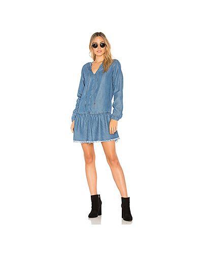 Платье с поясом на пуговицах синее Rails