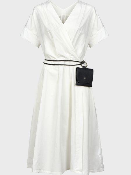 Хлопковое белое платье с поясом Silvian Heach