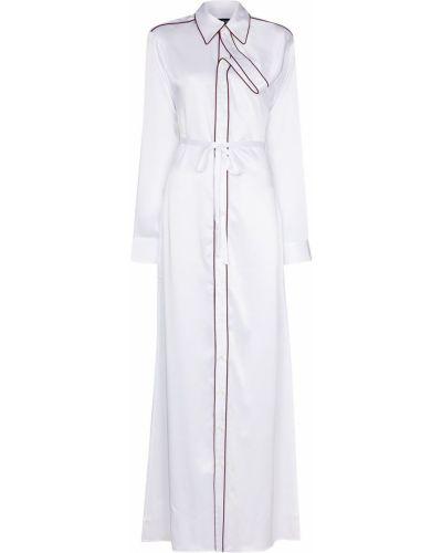 Белое платье макси с воротником с драпировкой Y Project