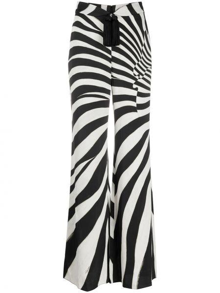 Шелковые черные свободные брюки с карманами свободного кроя Roberto Cavalli