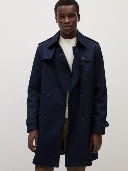 Синее пальто двубортное с карманами Mango Man