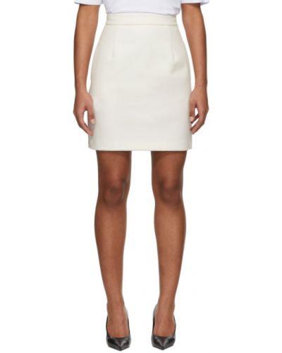 Biały spódnica mini z kieszeniami z wiskozy Msgm