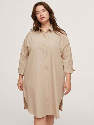 Платье рубашка - бежевое Violeta By Mango