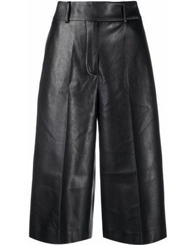 Czarny spodnie culotte z paskiem wysoki wzrost z ozdobnym wykończeniem Ermanno Scervino