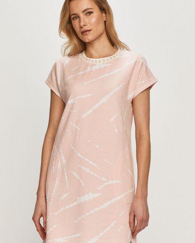 Różowa piżama z koszulą bawełniana krótki rękaw Dkny