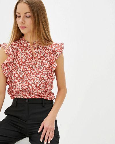 Блузка с рюшами красная Lauren Ralph Lauren