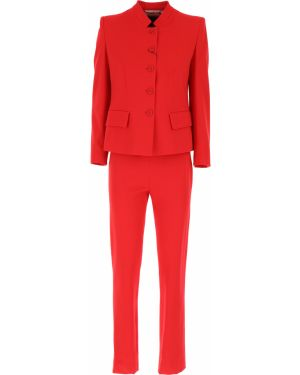 Czerwony garnitur bawełniany z długimi rękawami Emporio Armani