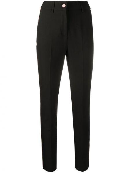 Черные брюки на пуговицах с высокой посадкой из вискозы Blumarine