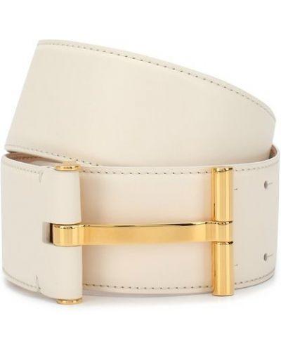 Белый кожаный широкий ремень с пряжкой Tom Ford