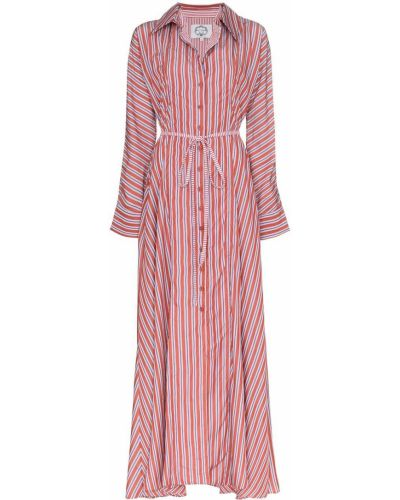 Фиолетовое платье макси с воротником с нашивками для полных Evi Grintela