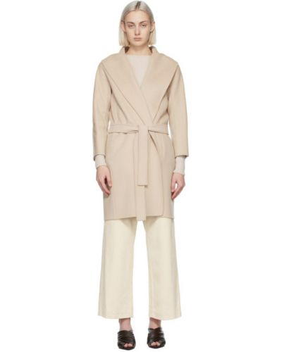 Бежевое шерстяное длинное пальто с воротником 's Max Mara