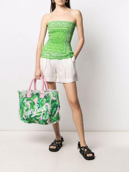 Зеленая сумка-тоут с бахромой на молнии Mc2 Saint Barth