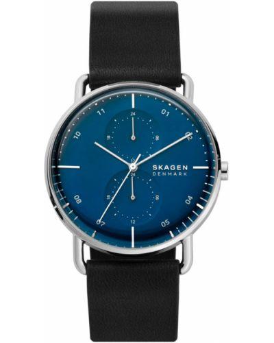 Czarny zegarek srebrny Skagen