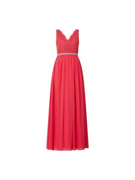 Różowa sukienka wieczorowa rozkloszowana z szyfonu Mascara