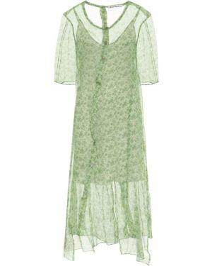 Зеленое шифоновое платье миди Acne Studios