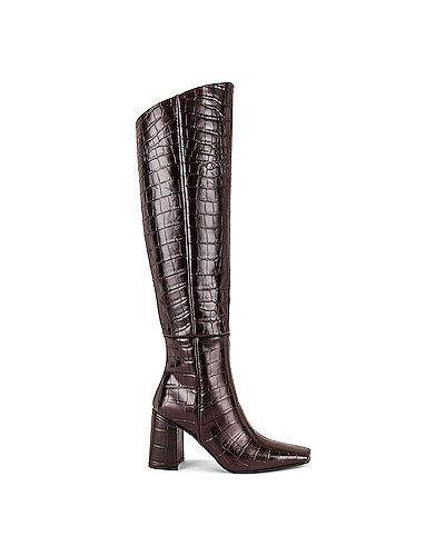 Кожаные коричневые кожаные сапоги квадратные с квадратным носком Reike Nen