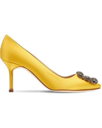 Желтые туфли атласные Manolo Blahnik