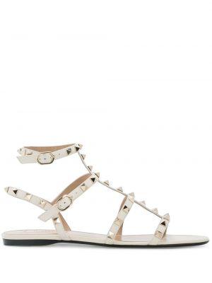 Белые кожаные сандалии с пряжкой Valentino
