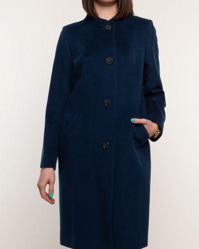 Прямое синее шерстяное пальто синар