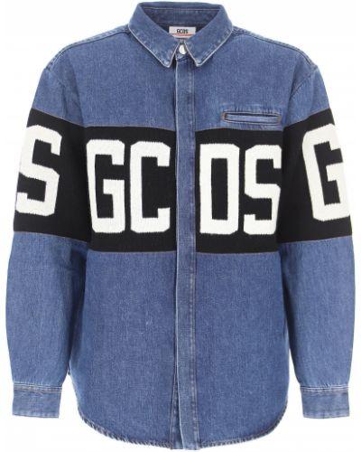 Niebieskie jeansy zapinane na guziki bawełniane Gcds
