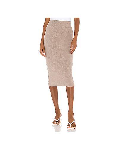 Хлопковая коричневая юбка с поясом Enza Costa