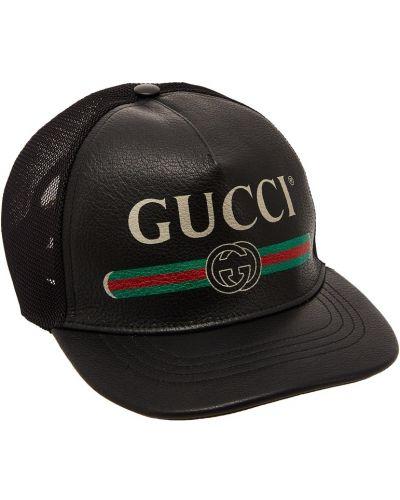 Кепка с логотипом кожаная Gucci