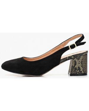 Туфли на каблуке черные с открытой пяткой Rio Fiore
