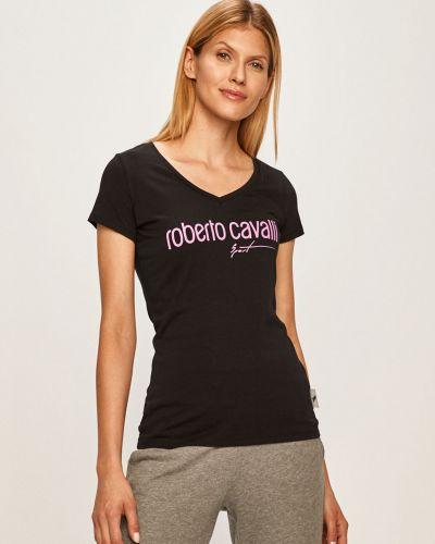 Спортивная футболка черная с V-образным вырезом Roberto Cavalli Sport