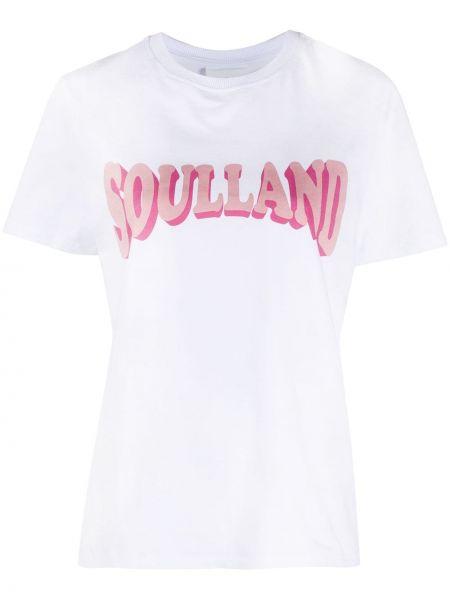 Белая хлопковая прямая футболка с круглым вырезом Soulland