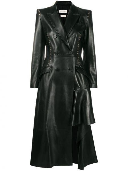 Черное кожаное длинное пальто двубортное Alexander Mcqueen