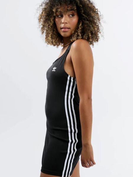 Облегающее черное платье в полоску Adidas