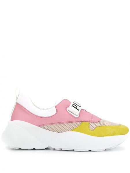 Skórzane sneakersy z logo różowy Emilio Pucci