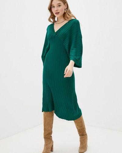Трикотажное зеленое вязаное платье Tantra