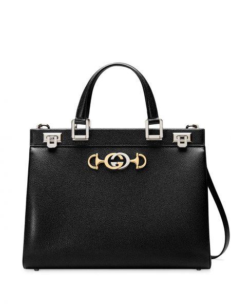 Черная кожаная сумка из вискозы Gucci