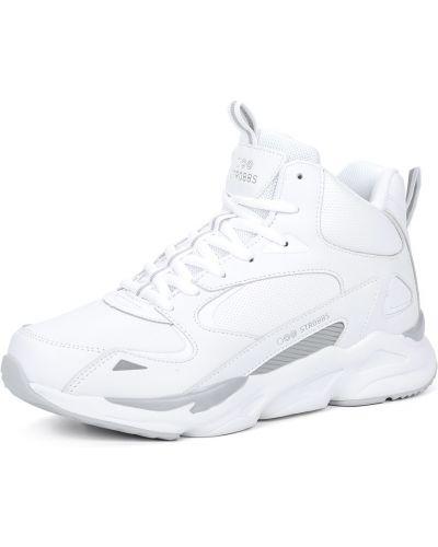 Кожаные белые кроссовки на шнуровке Strobbs