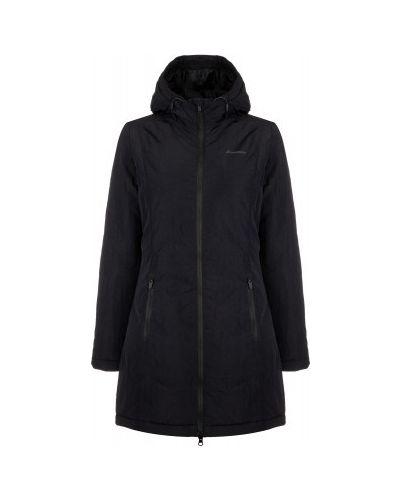 Черная утепленная длинная куртка на молнии Demix