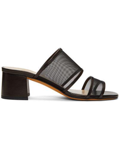 Czarne sandały skorzane z siateczką Maryam Nassir Zadeh