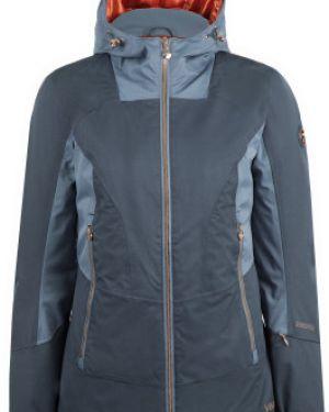 Приталенная теплая синяя куртка с капюшоном на молнии VÖlkl