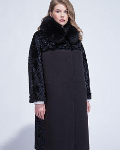 Черное прямое пальто из искусственного меха с воротником-стойка каляев
