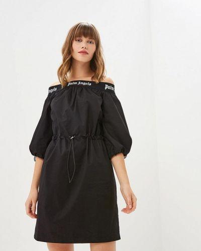 Платье с открытыми плечами черное Mazal