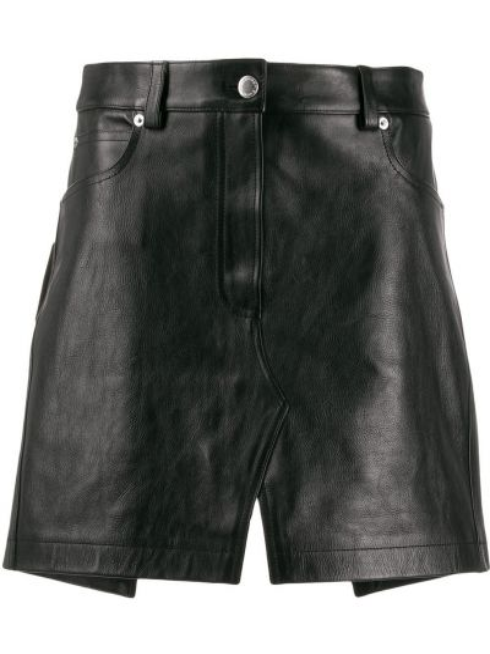 Кожаная юбка мини - черная Alexander Wang