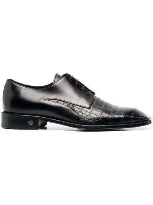 Черные кожаные туфли квадратные Roberto Cavalli