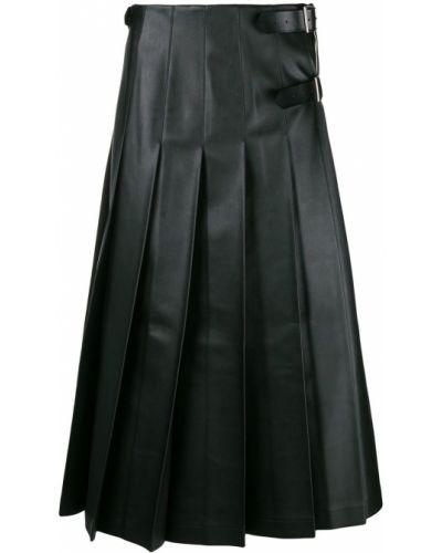 Pofałdowany czarny skórzany spódnica maxi z klamrą Comme Des Garcons Homme Plus
