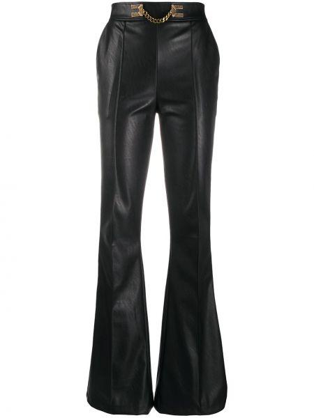 Кожаные черные расклешенные брюки с карманами Elisabetta Franchi