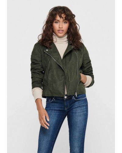 Зеленая кожаная куртка Jacqueline De Yong