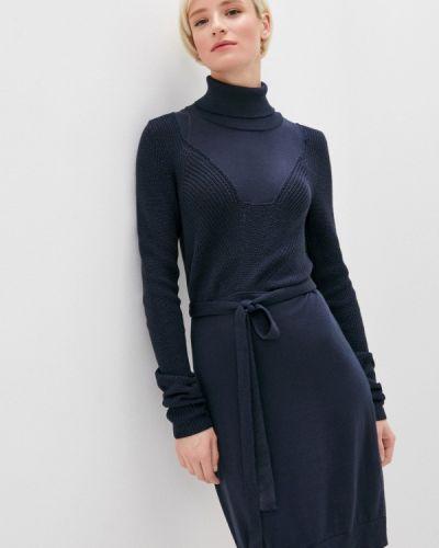 Трикотажное синее вязаное джинсовое платье Trussardi Jeans
