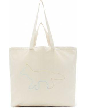 Bawełna torba na ramię z płótna z kieszeniami z łatami Maison Kitsune