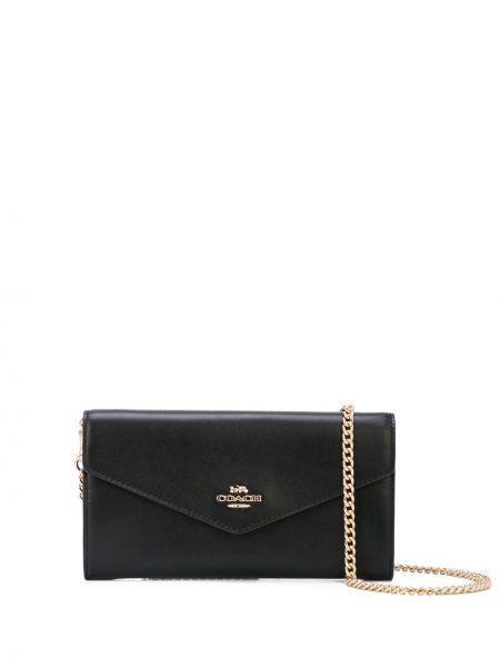 Skórzany czarny portfel skórzany z kieszeniami z gniazdem Coach