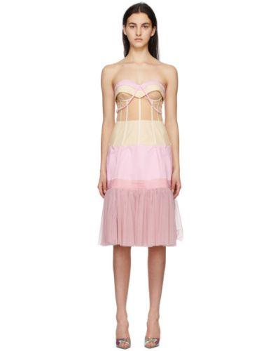 Розовое платье без бретелек из фатина Moschino