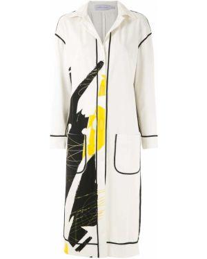 Белое пальто классическое с капюшоном с воротником Mara Mac
